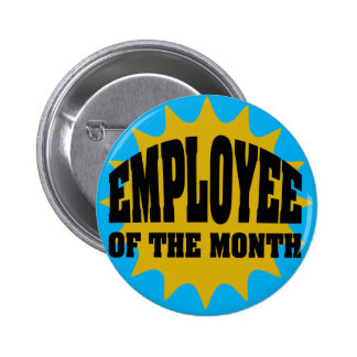 Employee of the Month gold and blue 2 Inch Round Button