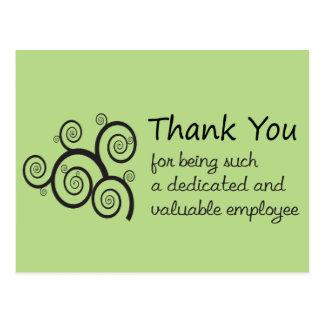 Employee Thank You with swirly vine Postcard