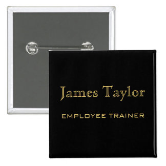 Employee Trainer Black Gold 2 Inch Square Button