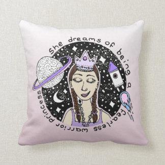 Empower Feminist Girl Princess Galaxy Dream Doodle Throw Pillow