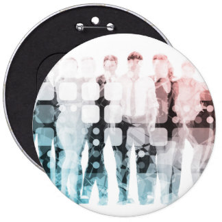 Empowered Professionals Working as a Team Concept 6 Inch Round Button