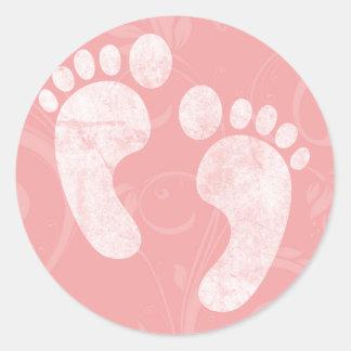 Empreintes de pas roses/blanches de bébé adhésifs ronds