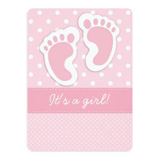 Empreintes de pas roses de bébé invitations personnalisées