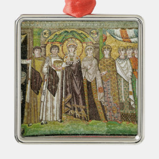 Empress Theodora Silver-Colored Square Ornament