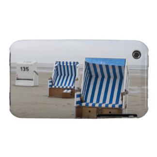 empty beach chairs on beach iPhone 3 cases