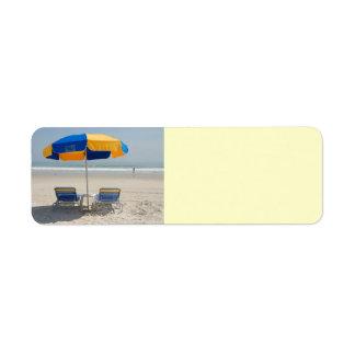 empty beach chairs return address label