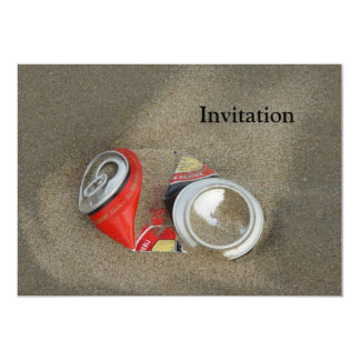 """Empty Beer Can in Sand 5"""" X 7"""" Invitation Card"""