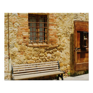 Empty bench in front of a wall, Monteriggioni, Poster