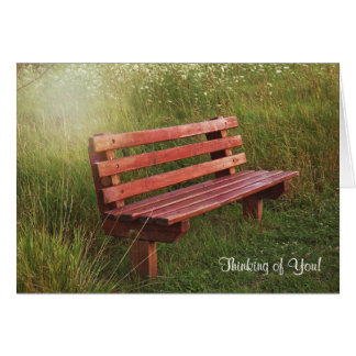 Empty Bench in Wildflowers-thinking of you Card