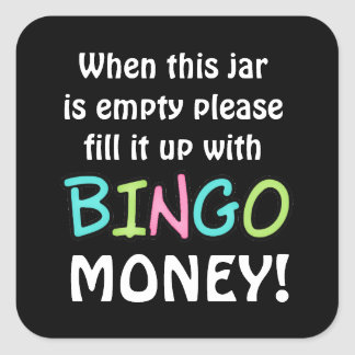 Empty bingo jar bear money sticker