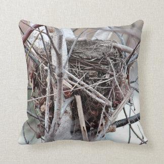Empty bird's nest throw pillow