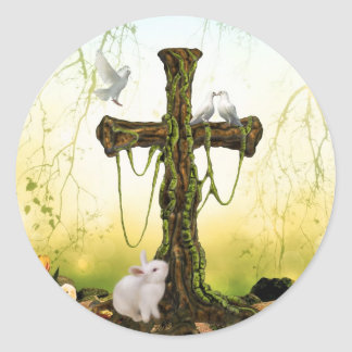 Empty cross after Easter Classic Round Sticker