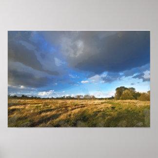 Empty Fields under Threatening Skies Poster