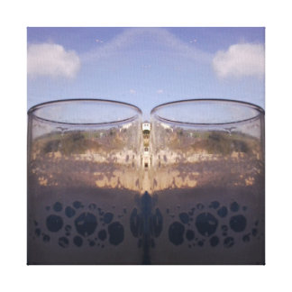 Empty Glasses at Beach Photo Mirror 1 Canvas Print