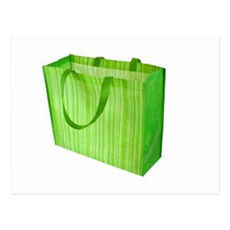 Empty green reusable shopping bag postcard