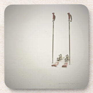 Empty Skis and Poles Drink Coasters