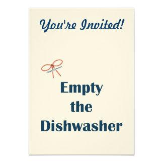 "Empty The Dishwasher Reminders 5"" X 7"" Invitation Card"