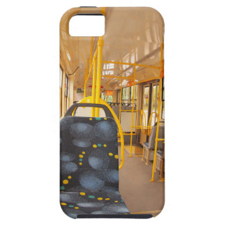 Empty tram rides on the streets of the city iPhone 5 case