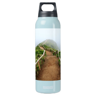 Empty walking trail insulated water bottle