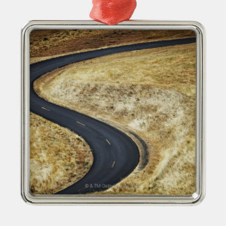 Empty winding paved road Silver-Colored square ornament
