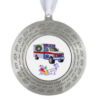 EMS Christmas Round Pewter Ornament