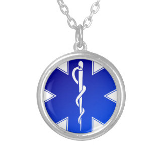 EMS Emergency Medical Service Silver Plated Necklace