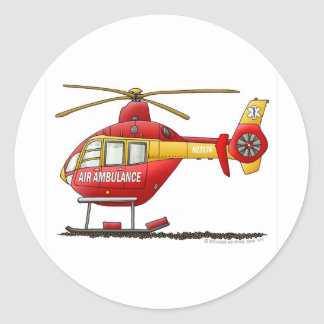 EMS EMT Rescue Medical Helicopter Ambulance Classic Round Sticker