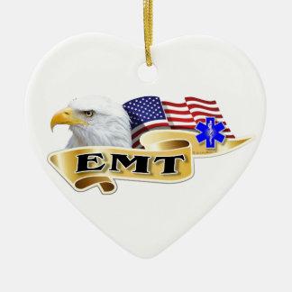 EMT American Pride Eagle Flag Ceramic Heart Ornament