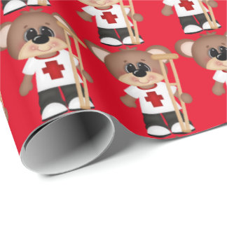 EMT Bear with crutch wrapping paper