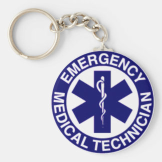 EMT Emergency Medical Technician Basic Round Button Keychain