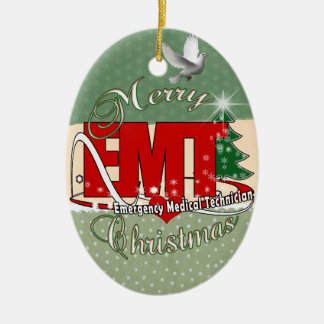 EMT Emergency Medical Technician CHRISTMAS Ceramic Oval Ornament
