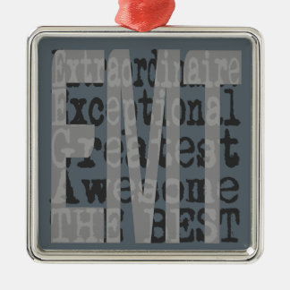 EMT Extraordinaire Silver-Colored Square Ornament