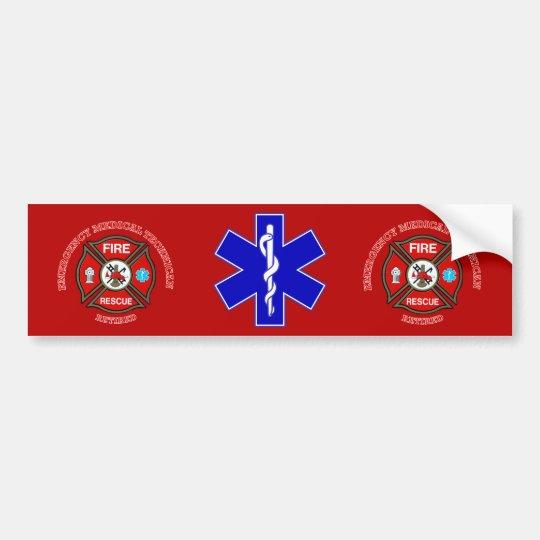 EMT Firefighter Retired Maltese Cross Bumper Sticker