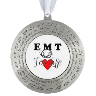 EMT For Life Round Pewter Ornament