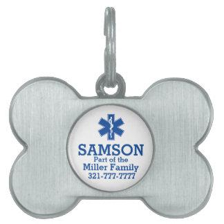 EMT Paramedic Symbol Custom Pet Tag