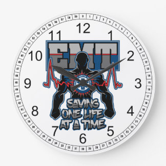 EMT Saving One Live at a Time Large Clock