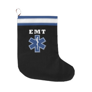 EMT Star Of Life Large Christmas Stocking