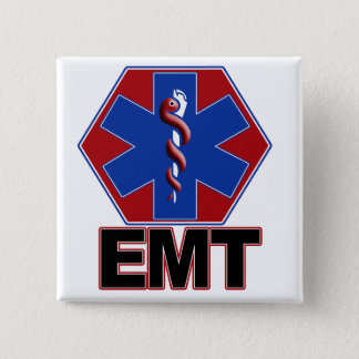 EMT STAR OF LIFE SYMBOL - EMERGENCY MEDICAL TECH 2 INCH SQUARE BUTTON