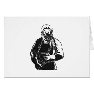 EMT Wearing Hazmat Suit Scratchboard Card