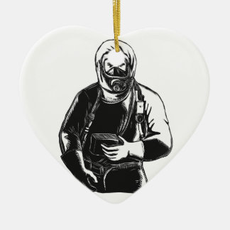 EMT Wearing Hazmat Suit Scratchboard Ceramic Ornament
