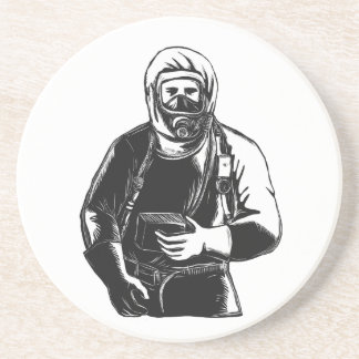 EMT Wearing Hazmat Suit Scratchboard Coaster