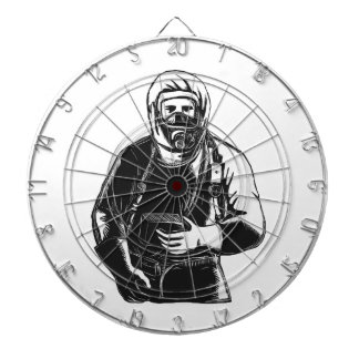 EMT Wearing Hazmat Suit Scratchboard Dartboard