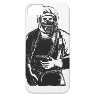 EMT Wearing Hazmat Suit Scratchboard iPhone 5 Cover