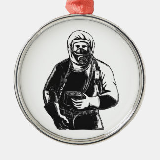 EMT Wearing Hazmat Suit Scratchboard Metal Ornament