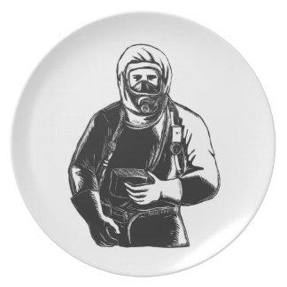 EMT Wearing Hazmat Suit Scratchboard Plate
