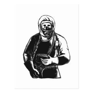 EMT Wearing Hazmat Suit Scratchboard Postcard