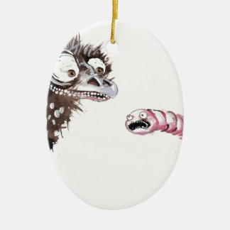 Emu and Worm Ceramic Ornament