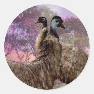 Emu Dreaming Round Sticker