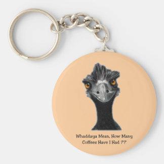 Emu: Funny, Humor: Too Many Coffees: Art Keychain