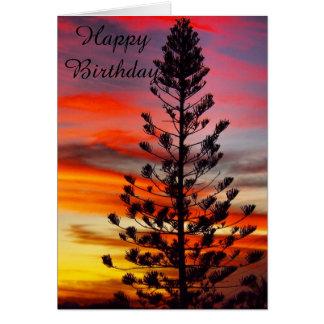 Emu Park sunset silhouette blank birthday card